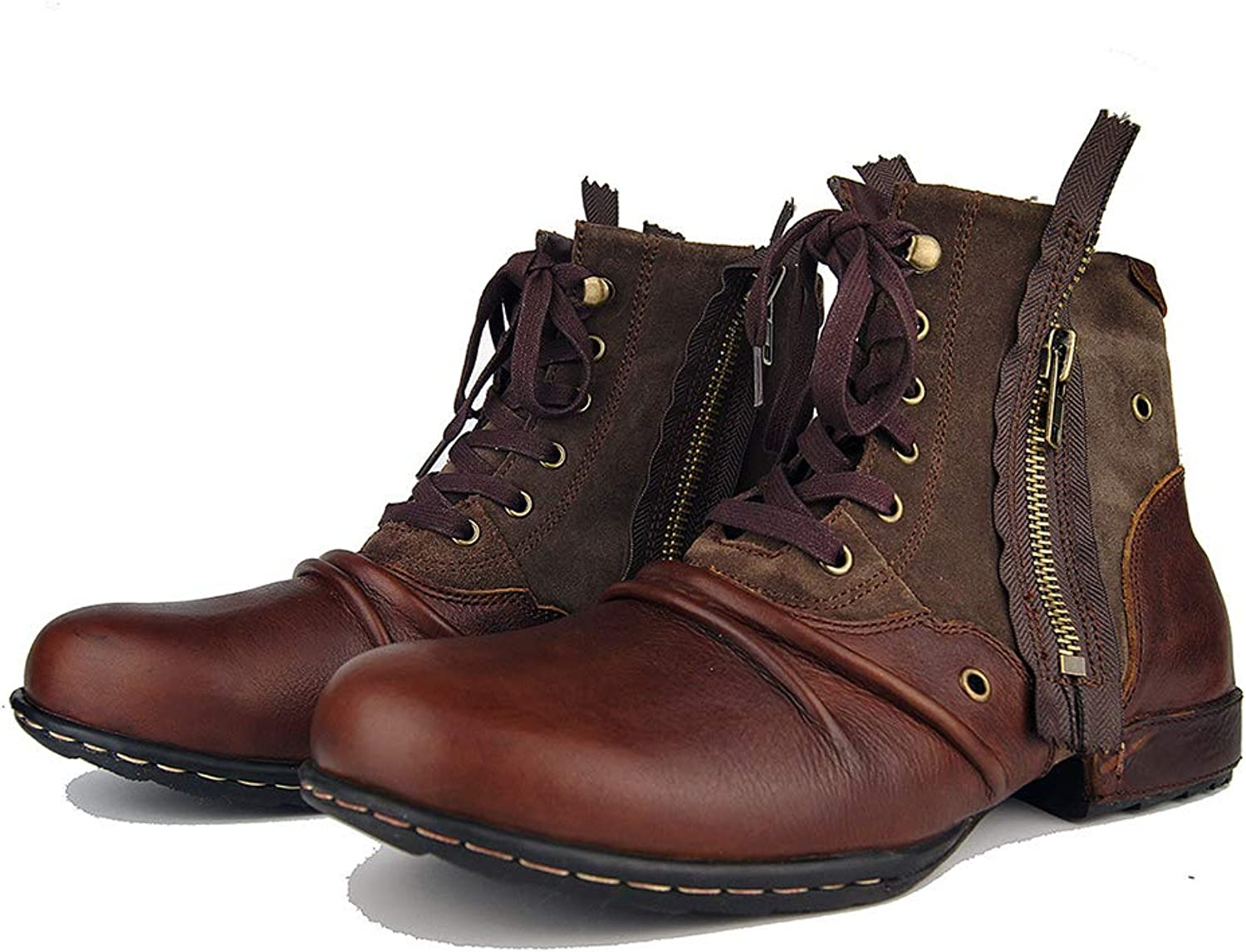 Vintage Spring Men's shoes Punk Rock Boots Motorcycle Boots Boots Zipper Large Size Martin Boots Casual Outdoor Cowboy Boots