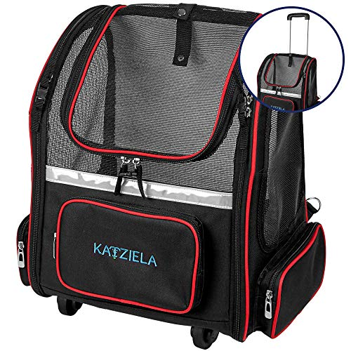 Katziela 4 Wheeled Pet Carrier Backpack - Soft Sided, Airline Approved Hiking Carrying Bag for Small Dogs and Cats – Removable Rolling Wheels – Mesh Ventilation Windows, Storage Pockets (Black/Red)