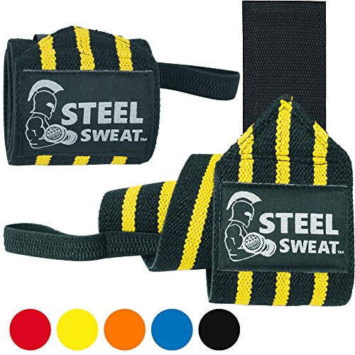 Steel Sweat Wrist Wraps - Best for Weight Lifting, Powerlifting, Gym and Crossfit Training - Heavy Duty Support - Black/Yellow Stripes 18""
