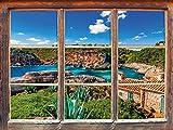 Stil.Zeit Ferienhaus an der spanischen Küste Fenster im 3D-Look, Wand- oder Türaufkleber Format: 92x62cm, Wandsticker, Wandtattoo, Wanddekoration
