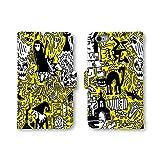 ノーブランド品 Galaxy S20 5G SC-51A SCG01 手帳型 スマホケース イエロー ネコ 猫 スカル イラスト pop-006 スマホカバー 携帯カバー ギャラクシー 5G