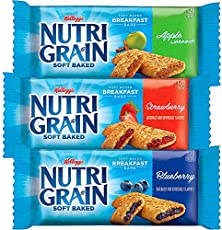 Kellogg's Nutri-Grain, Soft Baked Breakfast Bars, Variety Pack, Good Source of 8 Vitamins and Minerals, 2.6lb case (4 Count)