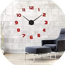 Asteria-Ashley Clock Watch Horloge 3D DIY Acrylic Mirror Stickers Home Decoration Living Room Quartz Needle,red,47Inch