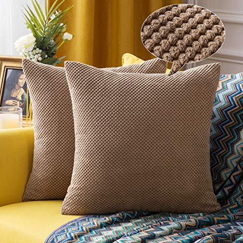 MIULEE Corduroy Granule Throw Pillow Covers Soft Pellets Solid Decorative Square Cushion Case for Sofa Bedroom Brown 16'x16'2 Pieces