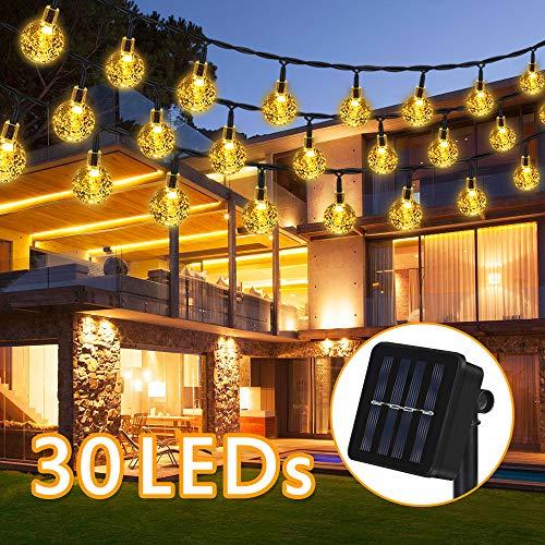 LED Solar Lichterkette, 6.5M 30 LEDs 8 Modi IP65 Wasserdicht Warmweiß Lichterkette Kristall Kugeln mit Lichtsensor, Außerlichterkette Deko für Garten, Bäume, Weihnachten, Hochzeiten, Partys.