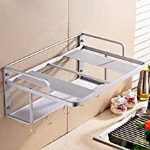 lzzfw Space Aluminum Double-Layer Microwave Oven Rack Wall-Mounted Kitchen Toaster Electric Oven Rack, Five Hooks