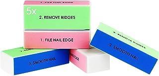 Bloque de uñas, bloque pulido profesional, 4 archivadores y pulir superficies, manicura para uñas limpias y hermosas (5x)