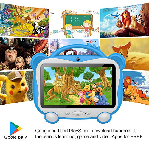 GOODTEL Kids Edition Tablet 7 Inch, Android 10.0 Pie Tablet Quad Core, 1GB RAM + 16GB ROM, WiFi, Bluetooth, Dual Camera, Training, Games, with Portable Proof Silicone Case for Kids Birthday Gift
