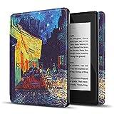 TNP Funda Protectora para Amazon Kindle Paperwhite 10a Generación 2018/2019/2020, Carcasa Inteligente Delgada y Ligera de Cuero con Función de Auto-Sueño para E-Reader (Terraza de Café por la Noche)