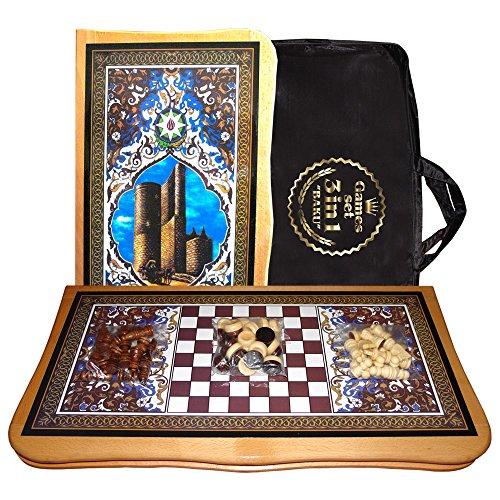 Unkuri Nardy Dame Schach 3 in 1 aus Holz Lackiert Backgammon groß Baku Spiel 55 x 55 cm