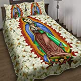 Virgin Mary Our Lady of Guadalupe, Quilt Blanket & Quilt Bedding Set, Comfort Warmth Soft Cozy Air Conditioning Machine Wash.
