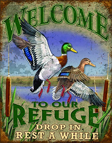 "Desperate Enterprises Welcome to Our Refuge Tin Sign, 12.5"" W x 16"" H"