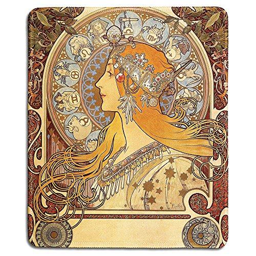 dealzEpic - Art Mousepad - Natural Rubber Mouse Pad with Classic Poster of Zodiac,1896 by Alphonse Mucha - Stitched Edges - 9.5x7.9 inches