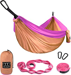 Gold Armour Camping Hammock - USA Brand Single Parachute Hammock (2 Tree Straps 16 Loops/10 ft Included) Lightweight Nylon Portable Adult Kids Best Accessories Gear