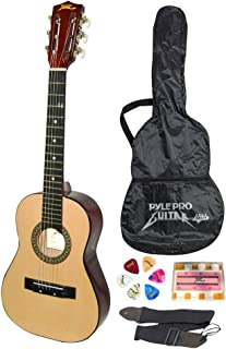Pyle-Pro 30in Classical Acoustic 6 String Linden Traditional Style Guitar w/Wood Fretboard, Case Bag, Nylon Strap, Tuner, 3 Picks-for Beginner, Children Use, Right Handed (PGAKT30) (Renewed)