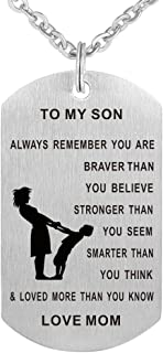 CraDiabh Dad Mom to Son Dog Tag Necklace Military Mens...