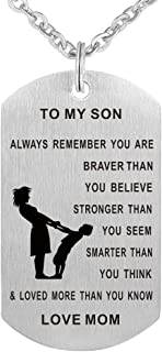 Dad Mom to Son Dog Tag Necklace Military Mens Jewelry Personalized Custom Dogtags Pendant Love Gift