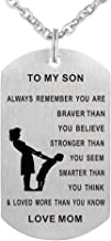 CraDiabh Dad Mom to Son Dog Tag Necklace Military Mens Jewelry Personalized Custom Dogtags Pendant Love Gift