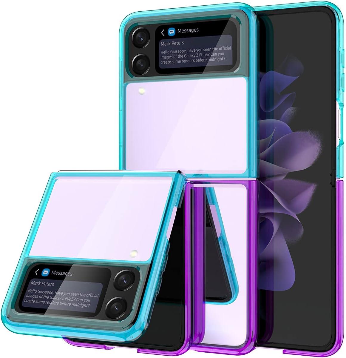wegoodsun Case Compatible for Samsung Galaxy Z Flip 3 5G(2021 Release),[Slim Thin] Crystal Hard PC and Soft TPU Bumper Clear Shockproof Anti-Scratch Transparent Phone case (Aqua/Purple)