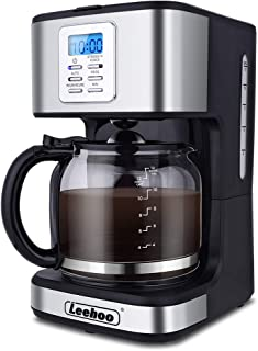 LEEHOO Drip Coffee Maker 2-12 Cup, Programmable Coffee Machine with Glass Carafe&Auto Shut-off&BrewStrengthControlfor Home and Office,Black and Stainless Steel Finish