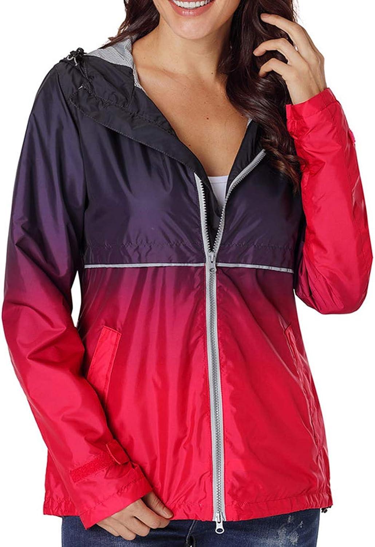 Alomoc Women's Outdoor Hooded Rain Jacket Long Sleeve Hooded Windbreaker