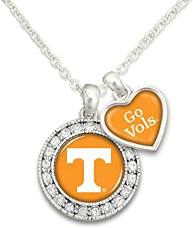 Sports Team Accessories Tennessee Volunteers Logo and a Heart Shaped Charm Necklace Featuring Team Slogan