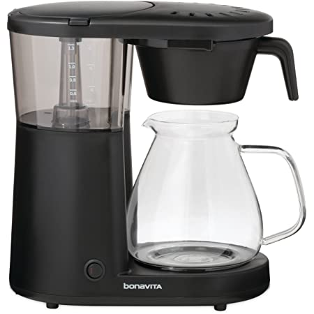 Bonavita BV1901PW Metropolitan 8 Cup Coffee Maker with Glass Carafe One-Touch Pour Over Brewing, BV1901PW, Black