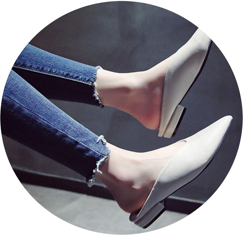 Women Flat shoes Leather Pointed Toe Slip On Flip Flops Women Slipper,Beige,6