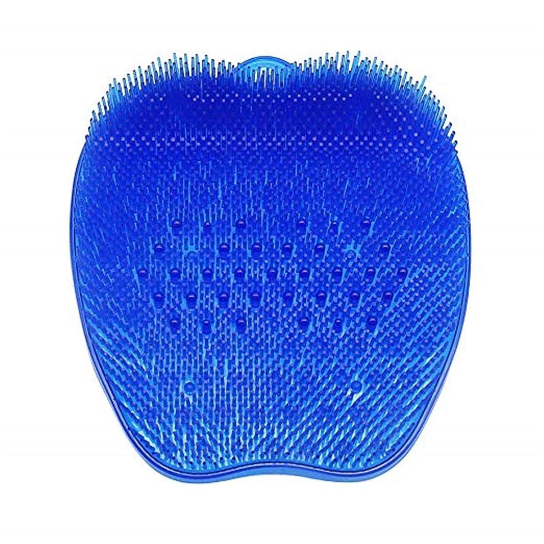 森めまいスラッシュシリコンフットバッシュスクラバーマッサージシャワーフットブラシディープクリーンエクスフォリエーションスパ (Color : 青)