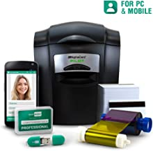 Complete ID Card Printer Bundle: AlphaCard Pilot ID Printer, EasyBadge ID Software & Mobile App, ID Supplies (with Mag Stripe Encoding) - 100 Premium Magnetic Printable Cards