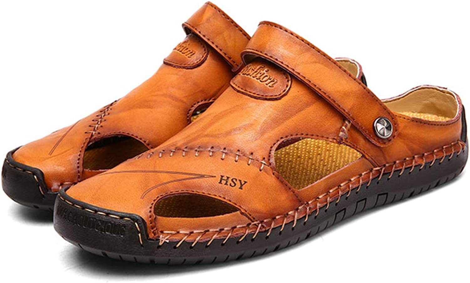 Mens Real Leather Adjustable Touch Fasten Comfort Closed Toe Slippers Gladiator Summer Non-Slip Sandals shoes Size 38-47