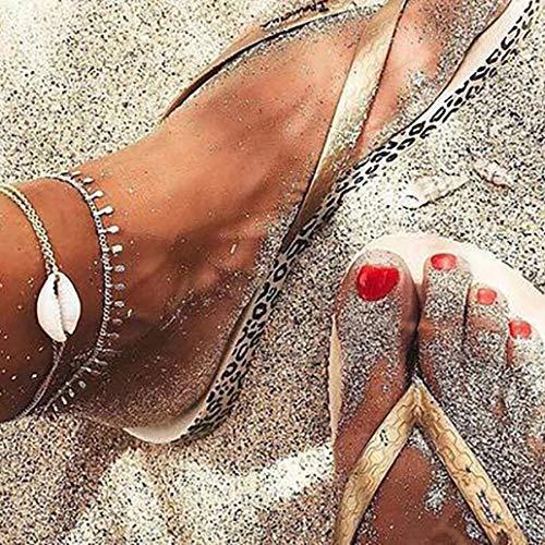 Bodhi2000 - Juego de 2 pulseras para tobillo, diseño de concha de pie