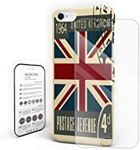 YEHO Art Gallery Christmas Phone Case Protective Design Hard Back Case,Retro Stamp of London UK,Phone Covers with Screen Protector for Girls Boys,iPhone 7p/8 Plus
