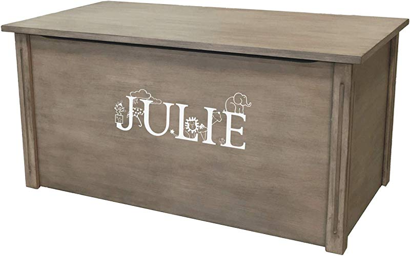 Wood Toy Box Large Gray Toy Chest Personalized Thematic Font Custom Options Cedar Base