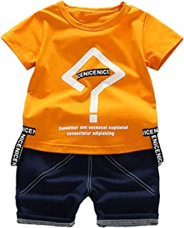 Kids' Clothing Conjunto de Ropa para niño y niña, Lindo Juego de Camisetas de algodón para Verano con Texto en inglés Question Mark Summer