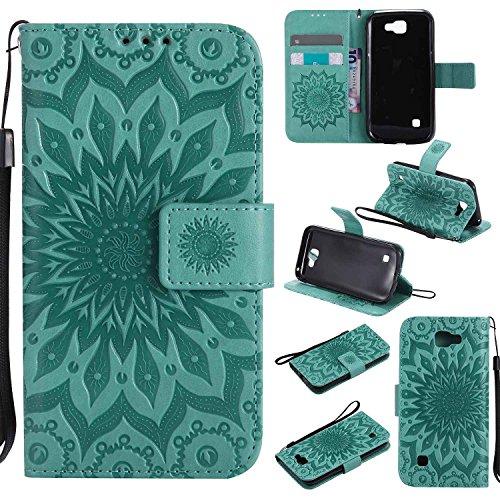 pinlu® PU Leder Tasche Etui Schutzhülle für LG K3 3G K100 (4,5 Zoll) Lederhülle Schale Flip Cover Tasche mit Standfunktion Sonnenblume Muster Hülle (Grün)