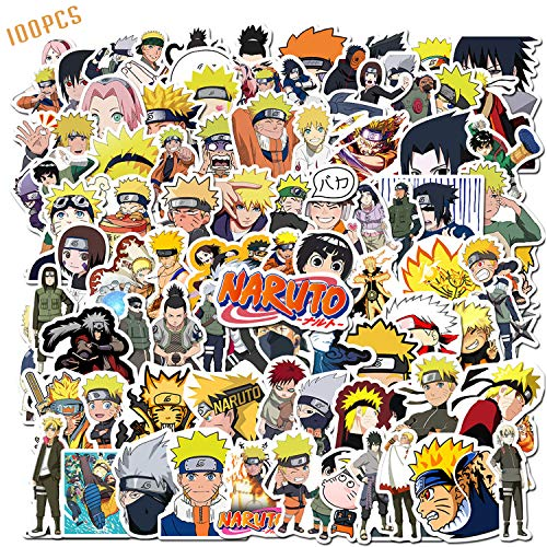 100PCS Naruto Stickers Japanese Anime Stickers Waterproof Vinyl Decal Stickers Skateboard Luggage Stickers for Kids Teens Adults for Water Bottles Laptop Phone