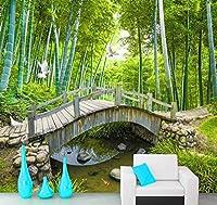 小さな橋カスタム写真壁紙3D竹林風景画壁の装飾リビングルーム寝室の壁紙壁画3D-280x200cm