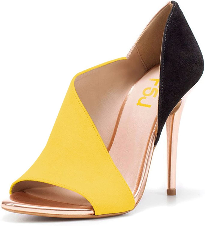 FSJ Women Sexy Peep Toe Cutout Pumps Sandals D'Orsay Stiletto Heels Party Evening shoes Size 4-15 US
