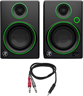 """Mackie CR Series 3"""" Creative Reference Multimedia Monitors (Pair) (CR3) with Monoprice 1/8"""" TRS Male to Two 1/4"""" TS Male Cable, 3 Feet"""