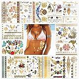 Konsait Tatuajes temporales para adultos mujer Niño (15 hojas), impermeable tatuajes temporales metálicos para brazo pecho y espalda, Flores Flechas Plumas Pulseras Muñequera