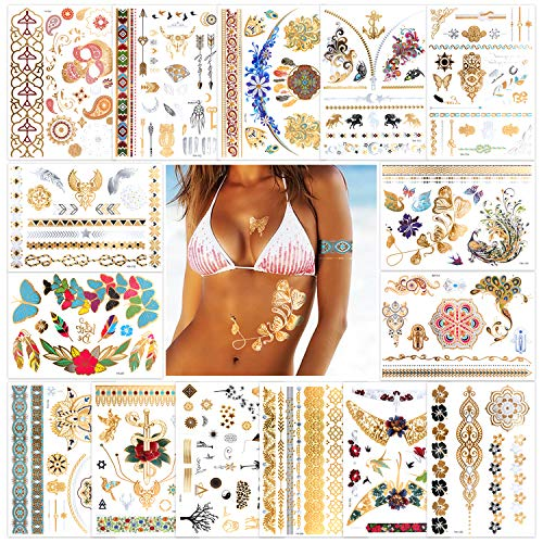 Konsait 14 Fogli Tatuaggi Temporanei Metallici Oro e Argento Falso Tatuaggio per adulti donna bambini