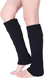 Pareberry Women's Winter Soft Over Knee High Cable Footless Socks Knit Leg Warmers