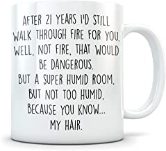 21st Anniversary Gift for Couple - Funny 21 Year Wedding Anniversary for Men and Women - Him and Hers Marriage Coffee Mug Set I Love You for Parents or Friends