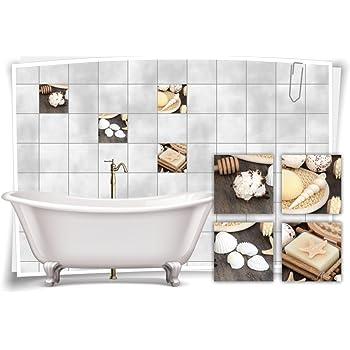Fliesenaufkleber Fliesenbild Muschel Seife Wellness SPA Aufkleber Fliesen Bad WC