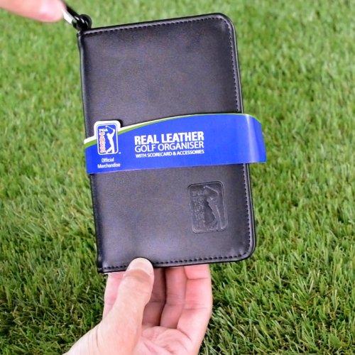 PGA TOUR Score Karte und Zubehörtasche aus echtem Leder , schwarz - 5