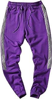 MogogoMen Stripe Slim-Tapered Reflective Comfort Sport Baggy Pants