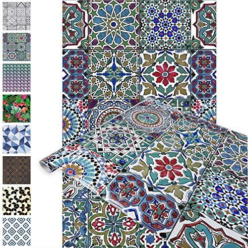 DecoMeister Klebefolien Deko-Folien Selbstklebefolie Möbelfolie Selbstklebend 67,5x150 cm Marokkanische Fliesen Faroso Mehrfarbig