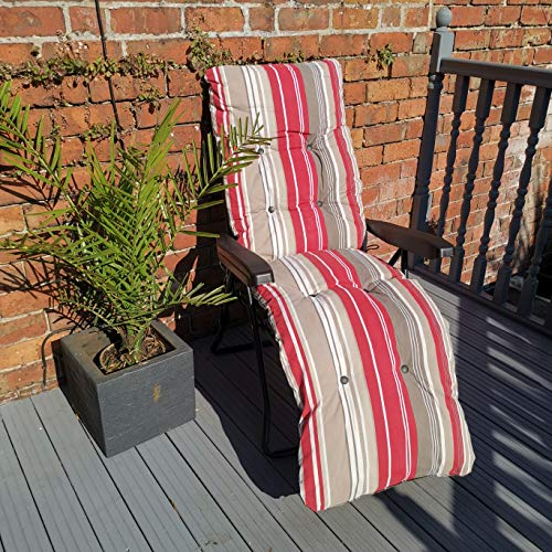 Samuel ALEXANDER Padded Outdoor Garden Patio Recliner/Sun Lounger with Red Stripes