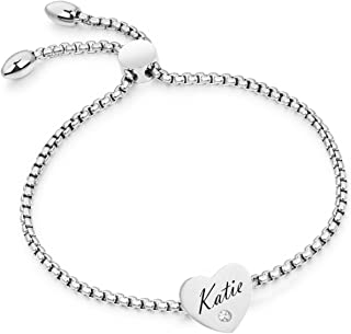 BBX JEWELRY Stainless Steel Personalized Name Bracelet Custom Engraving for Women